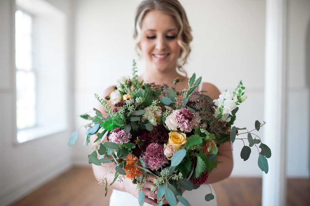 Bridal bouquet vintage chic garden picked look
