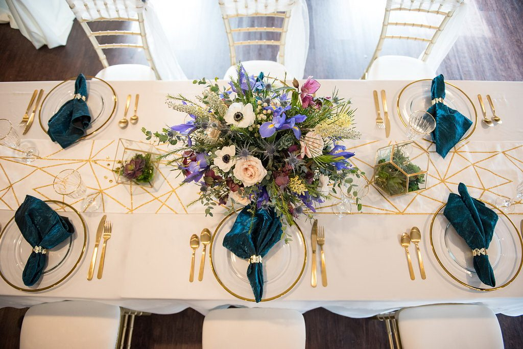 Geometric wedding reception tablescape flowers