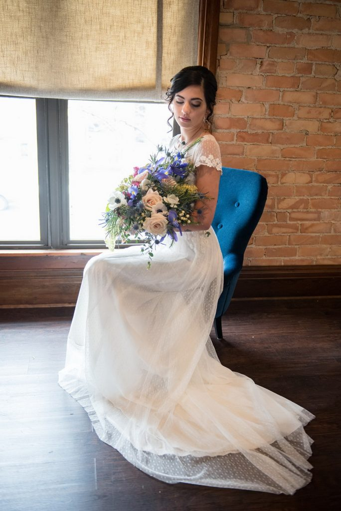 Brewery wedding bridal portrait with bouquet