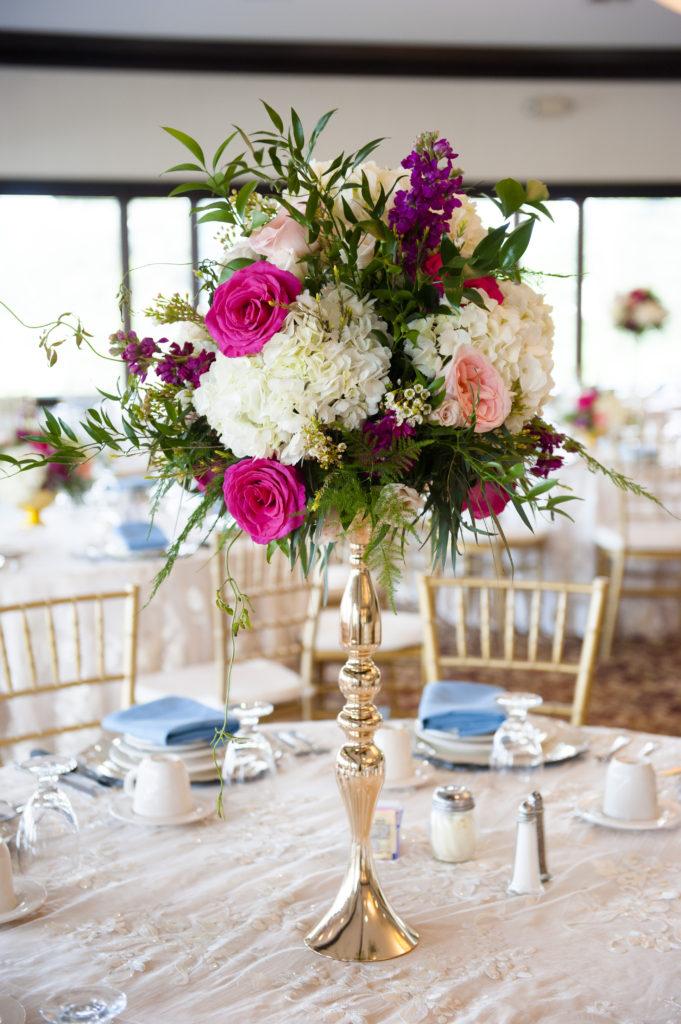 Tall Centerpiece Wedding Florals pink white