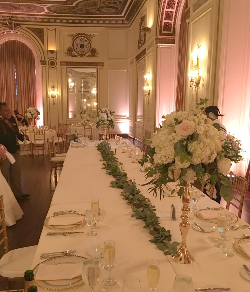 Wedding Head Table Flowers Garland Colony Club Detroit