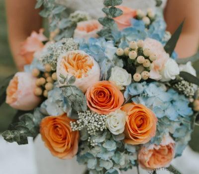 Bridal Bouquet hydrangeas roses eucalyptus