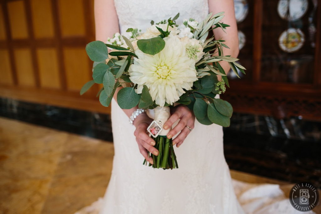 Bridal bouquet white dahlia detroit rochester