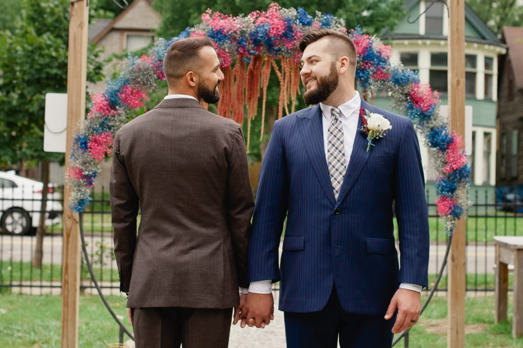 2 Grooms, LGBT wedding detroit arch