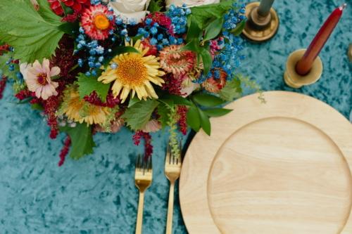 Colorful wedding centerpiece detroit velvet