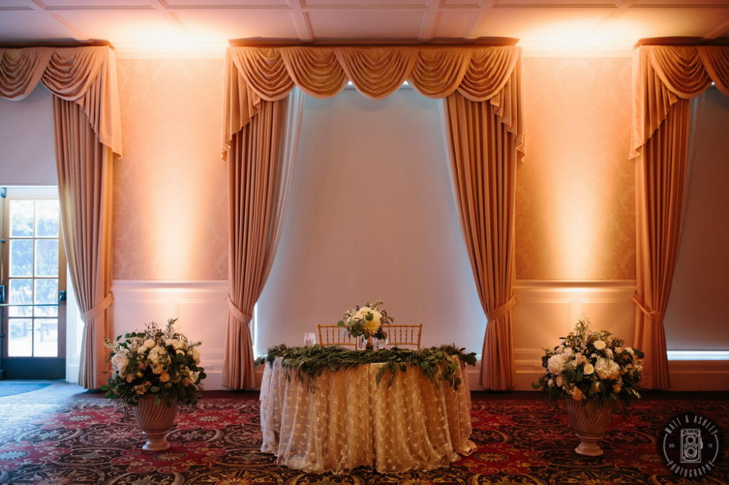 Sweetheart table floral design Rochester MI hotel wedding