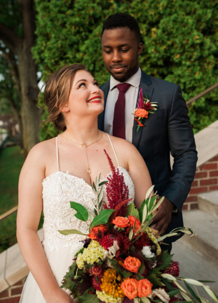 Detroit Yacht Club Wedding bride groom flowers
