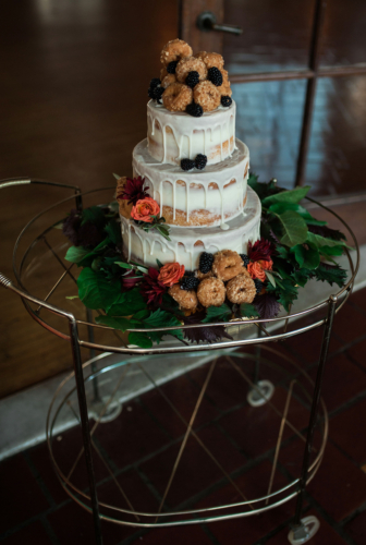 Wedding cake flowers greenery bar cart detroit yacht club