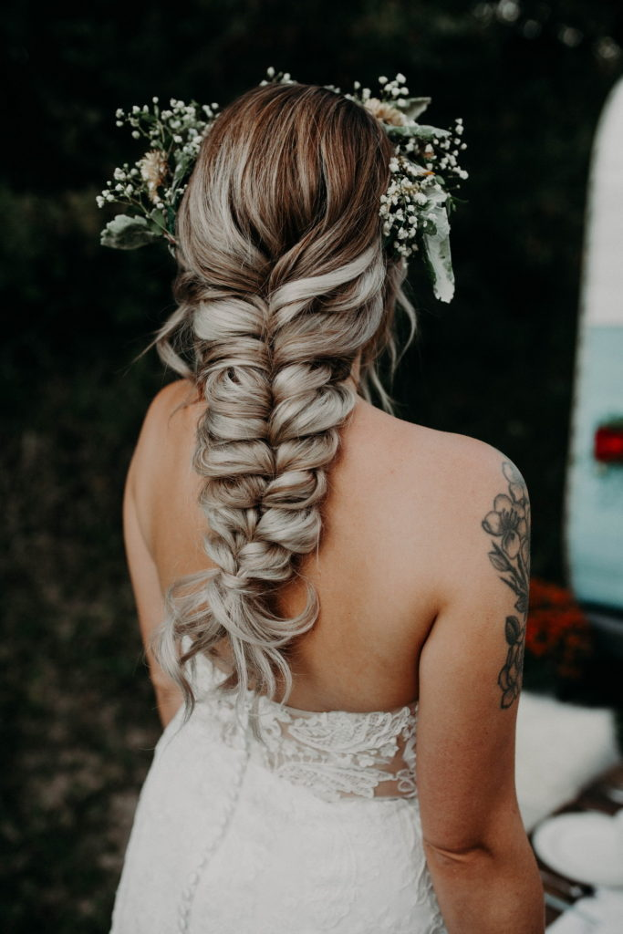 Wedding hair braid flower crown Detroit