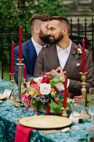Detroit urban wedding floral design centerpiece biergarten lgbt