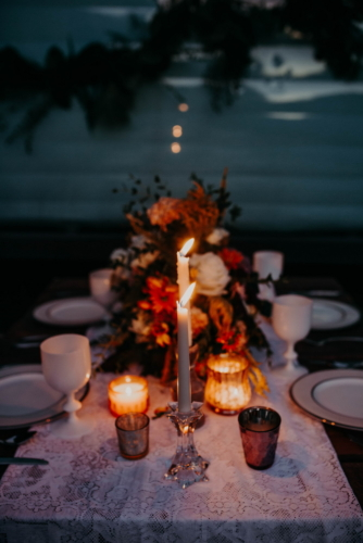 Wedding centerpiece bohemian style candles