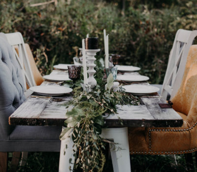 Outdoor table garland greenery wedding
