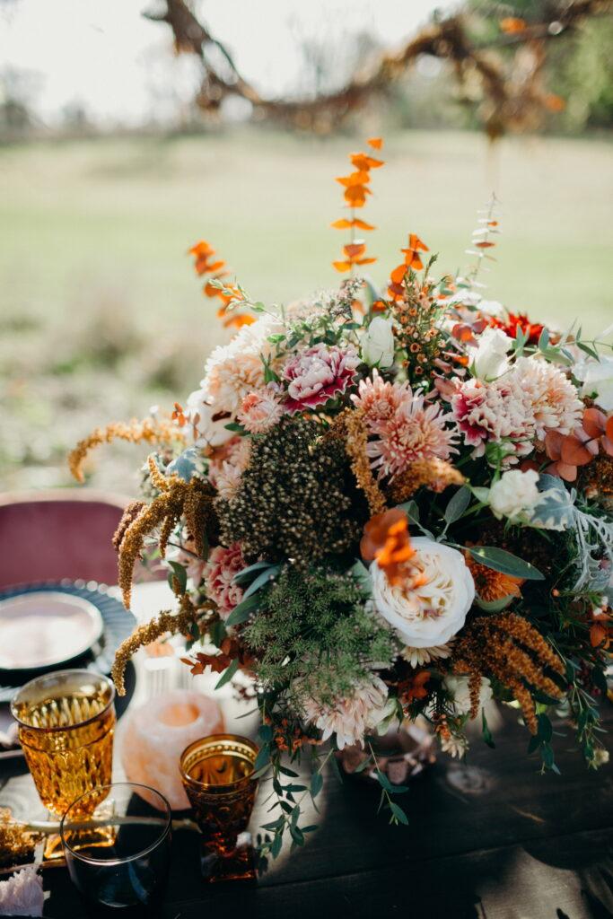 Autumn wedding reception centerpiece