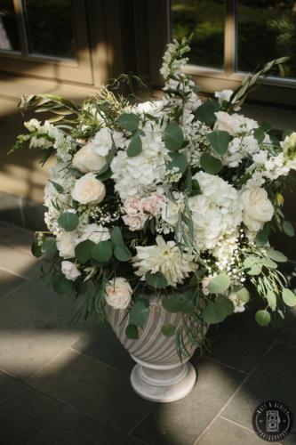 Ceremony Arrangment white blush wedding green urn