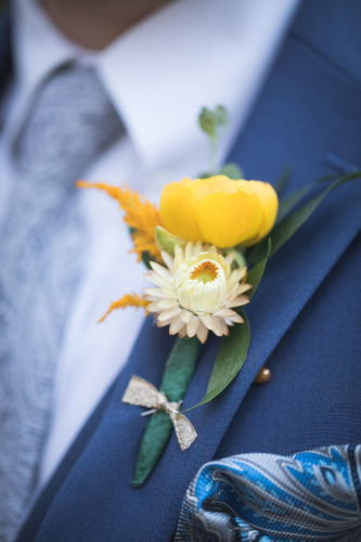 Gold Ranunculus yellow strawflower Groom Boutonniere