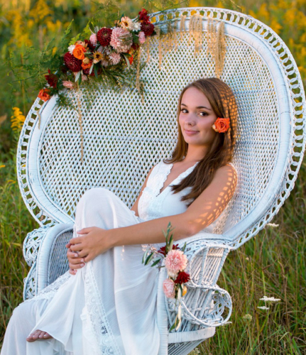 Floral bohemian photo shoot bridal hairpiece