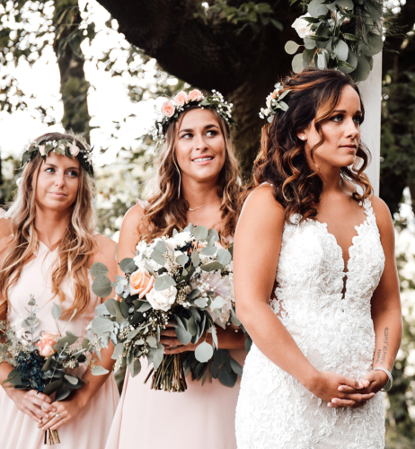 Flower crowns bridesmaids pink