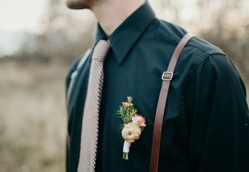 Strawflower Groom Boutonniere
