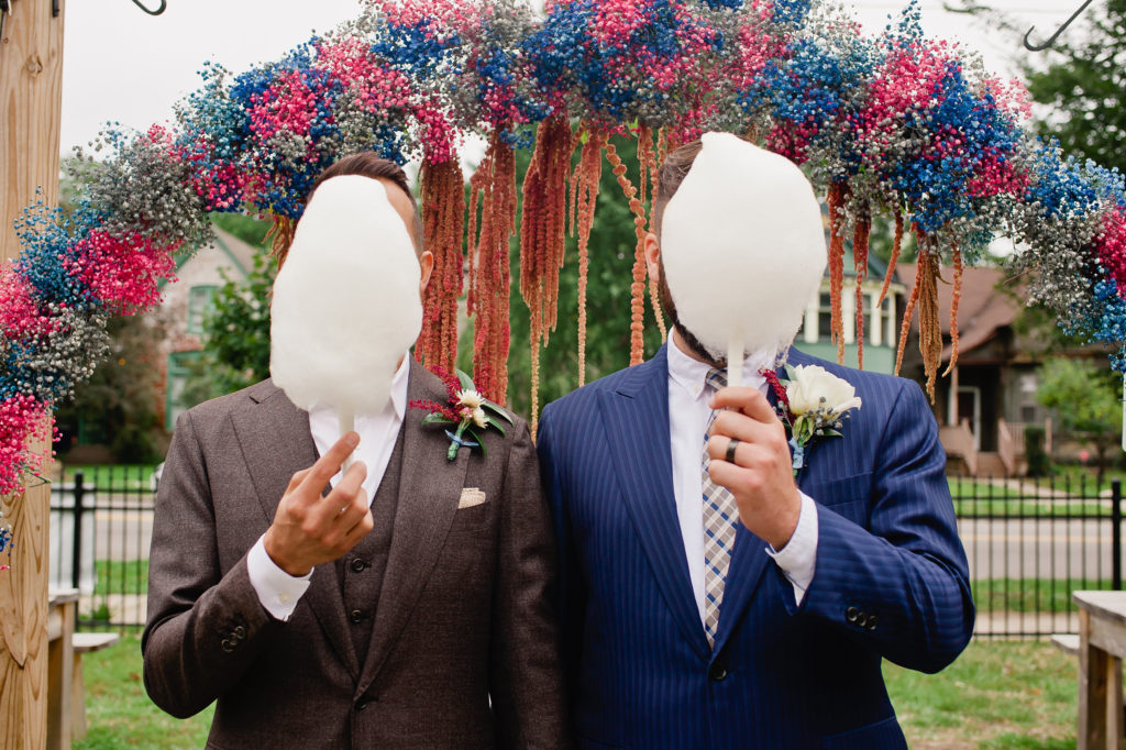 LGBT WEdding Detroit grooms biergarten cotton candy