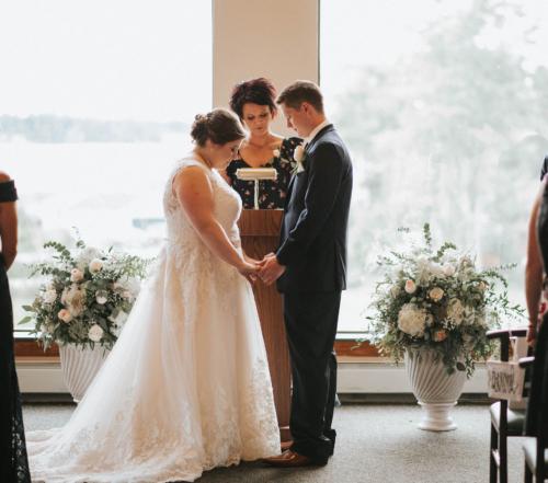 Wedding ceremony flowers large arrangement urn white blush