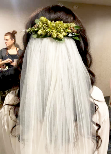 Green hops and Eucalyptus bridal hairpiece