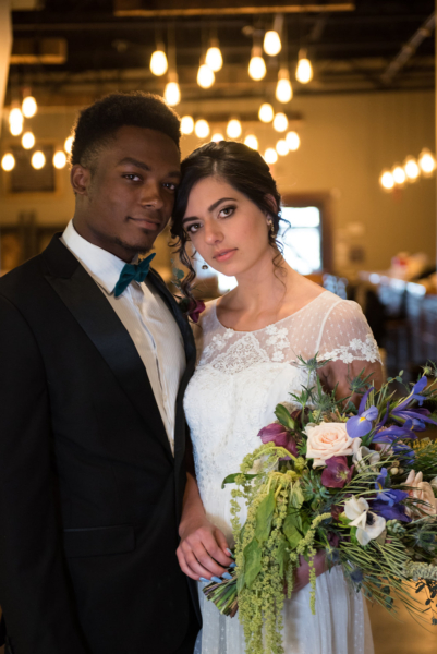 Spring Brewery Wedding bride groom bouquet Oxford