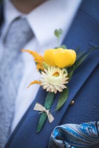 Gold Ranunculus yellow strawflower Groom Boutonniere
