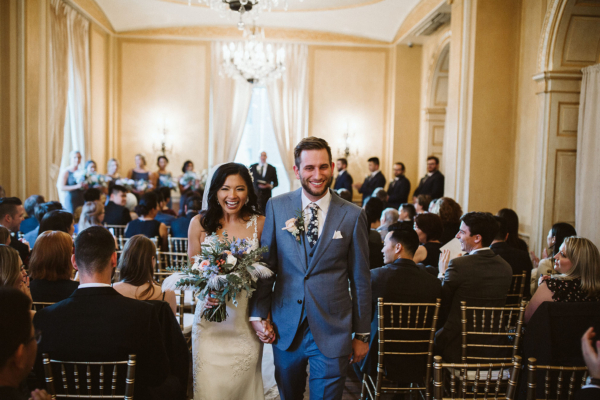 Colony Club Wedding Detroit vintage blue white peach bridal bouquet just married