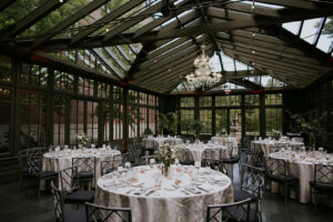 Conservatory Wedding reception Royal Park Hotel green and white guest tables
