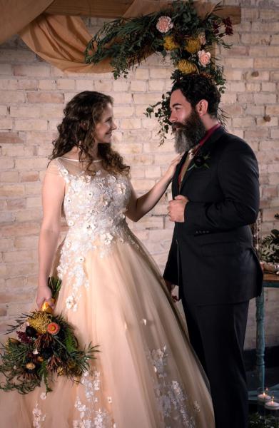 Flint wedding arch bride groom