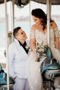 Carosel Bride and bride wedding photo detroit