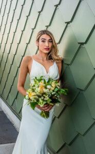 Riverfront Bridal Photo shoot gold Downtown Detroit